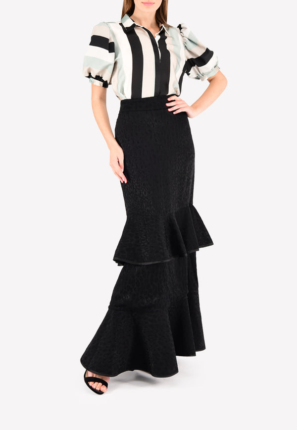Samoa Striped Top with Patterned Ruffled Maxi Skirt