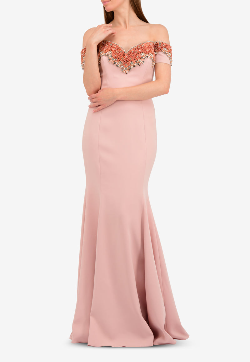 Embellished Off-Shoulder Mermaid Gown