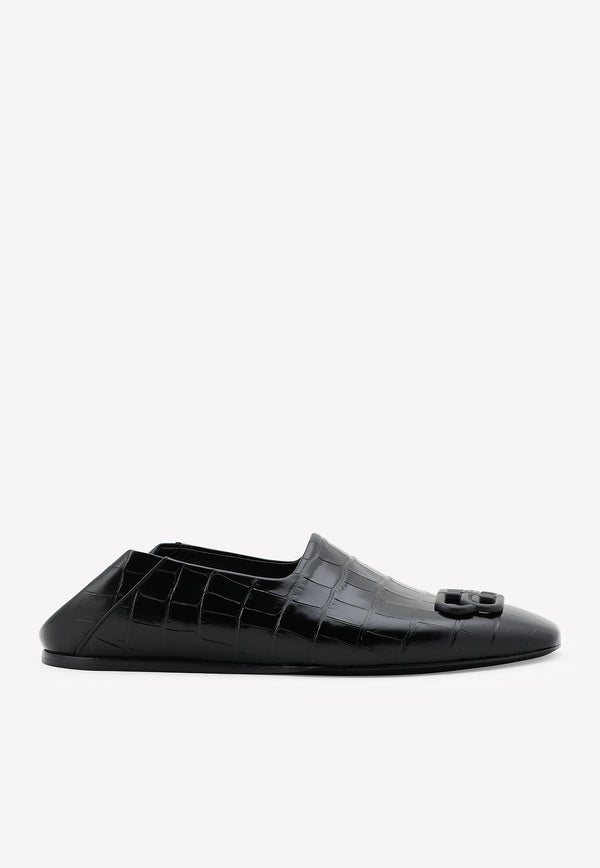 Cosy BB Loafers in Croc-Embossed Calfskin
