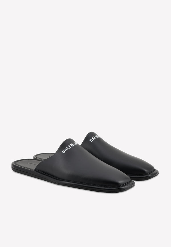 Cosy Carrera Leather Mules with Logo-Print