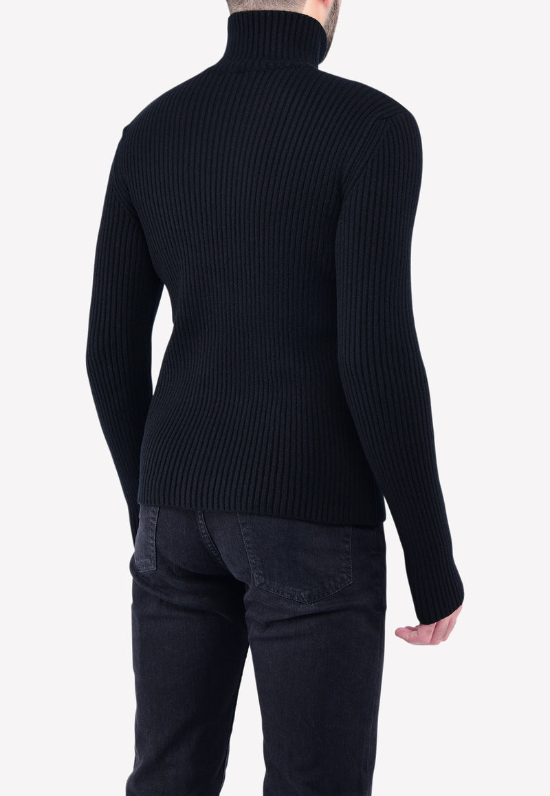Ribbed Roll-Neck Cashmere Sweater