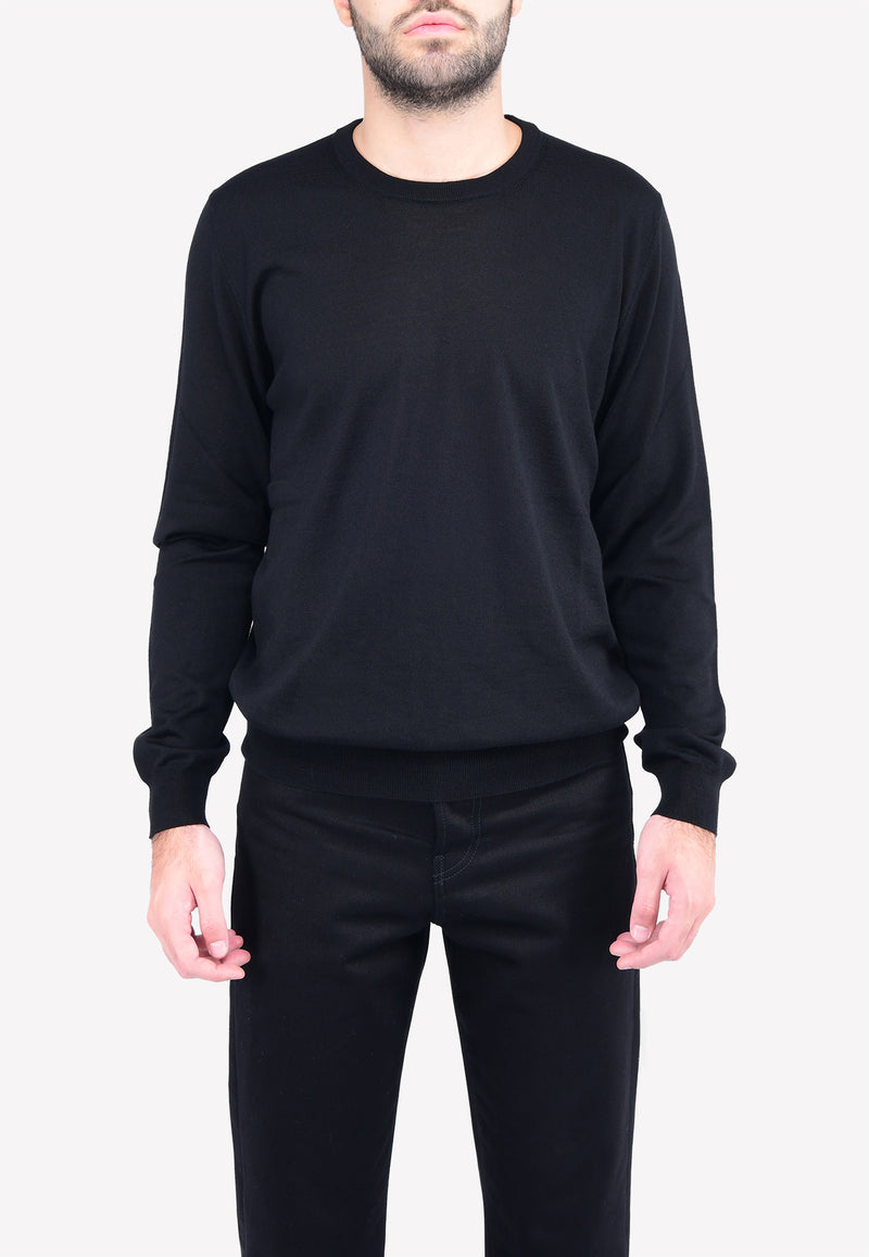 Virgin Wool Crew-Neck Sweater with Back Logo Intarsia