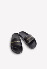 Leather Slides with Embbosed Logo