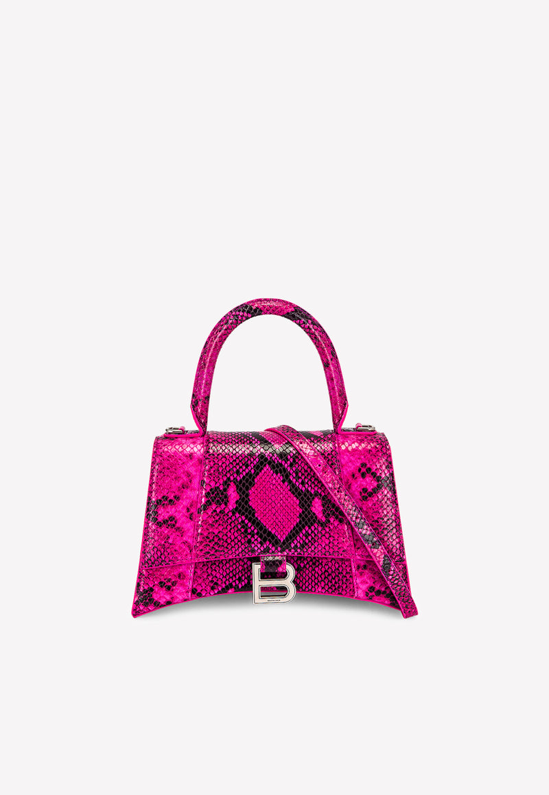 Small Hourglass Top Handle Bag in Snake-Print Calfskin
