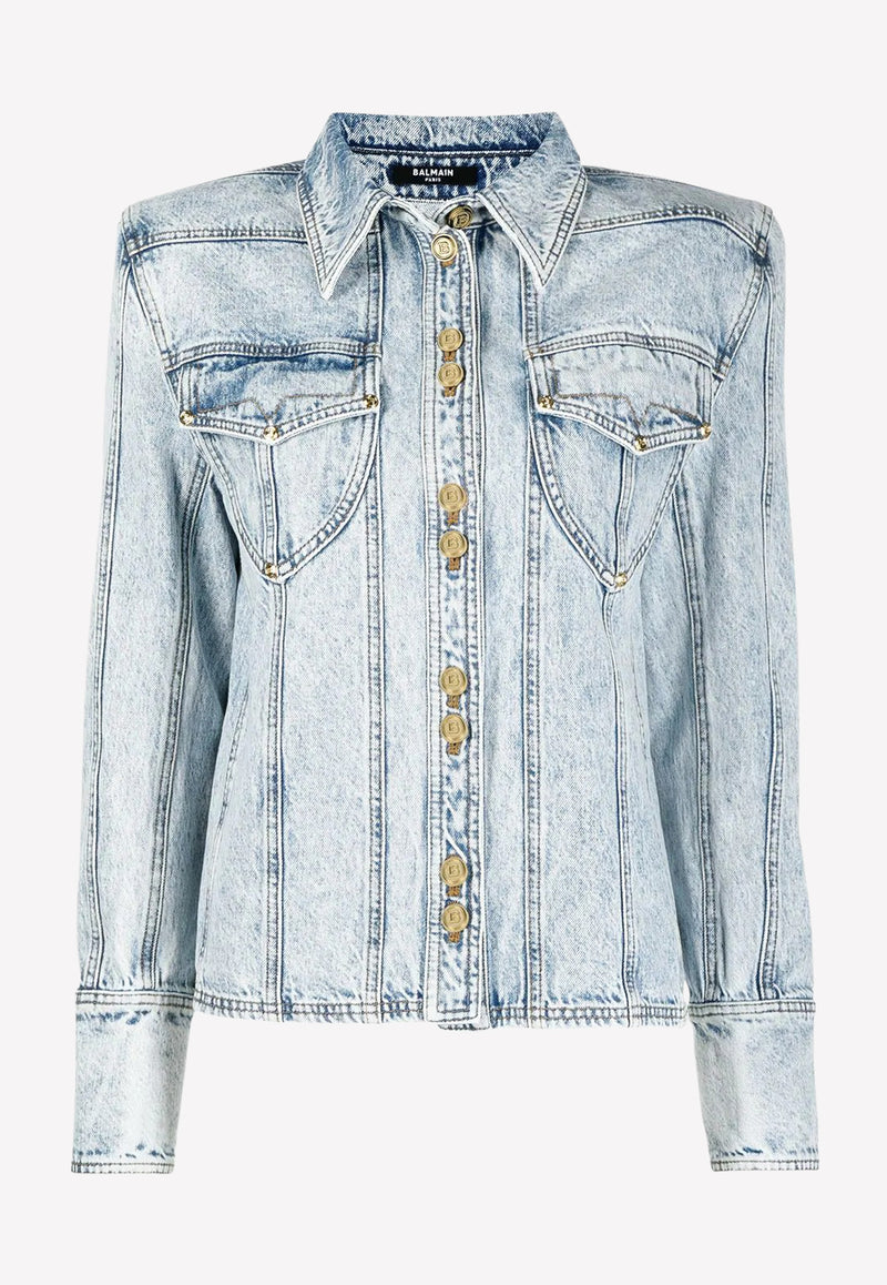 Distressed Cotton Denim Jacket