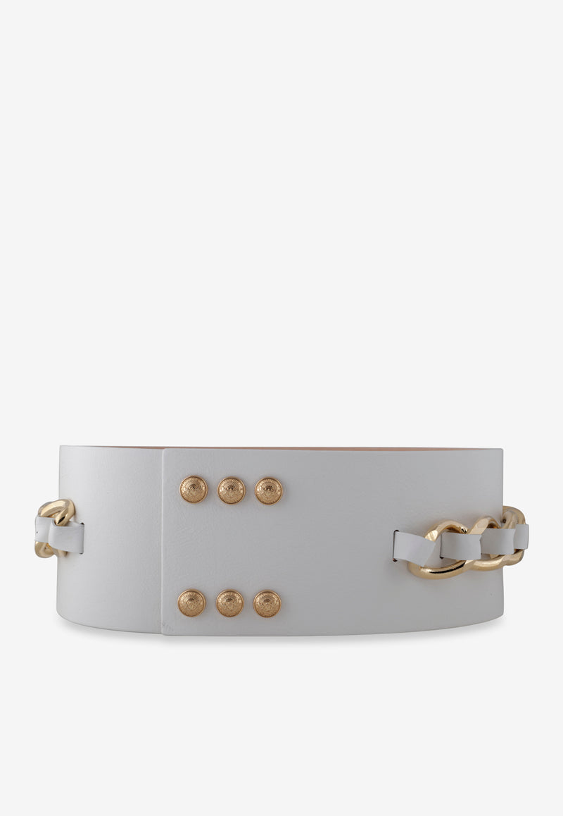 Leather High-Waist Belt with Chain