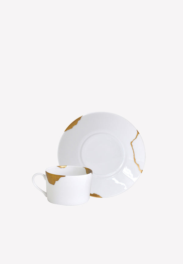 Kintsugi Sarkis -  Set of 2 Assorted Breakfast Cups and Saucers
