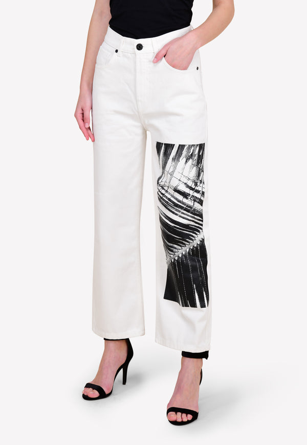 Big Palm Print Straight-Fit Jeans