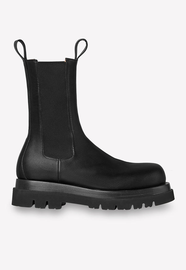 The Calfskin Lug Boots with Elasticated Side Panels