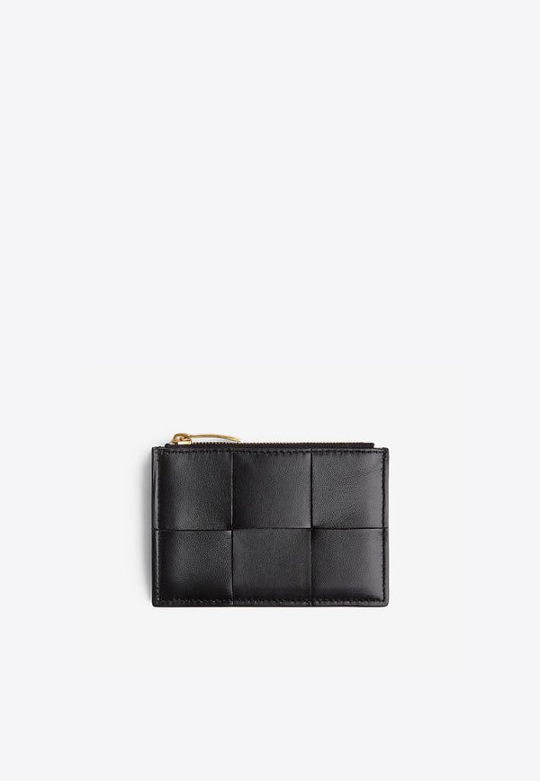 Zip Cardholder in Intrecciato Nappa Leather
