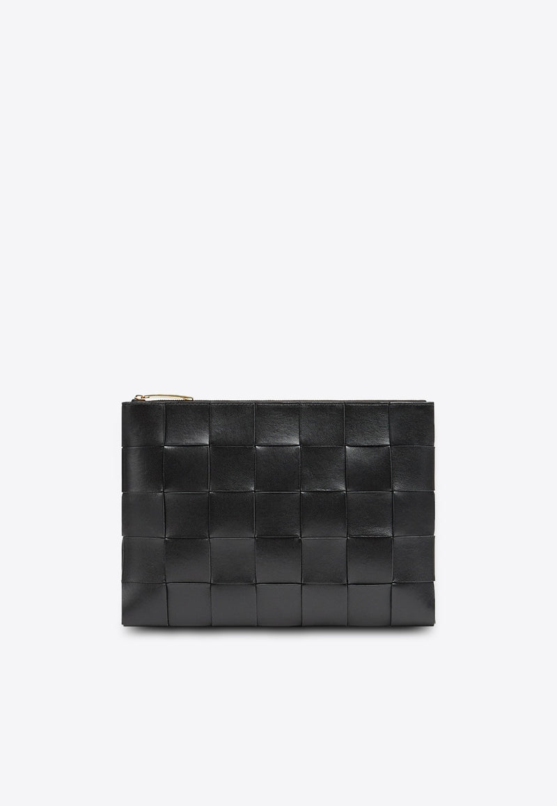 Zipped Pouch in Intrecciato Nappa Leather