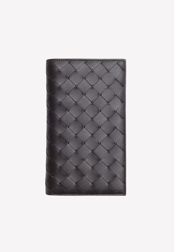 Calfskin Continental Wallet with Intrecciato Detail
