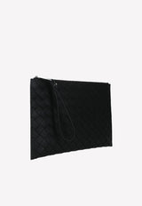 Calfskin Embossed Pouch with Intrecciato Detail