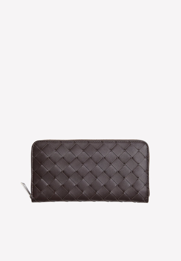Calfskin Zip-Around Wallet with Intrecciato Detail