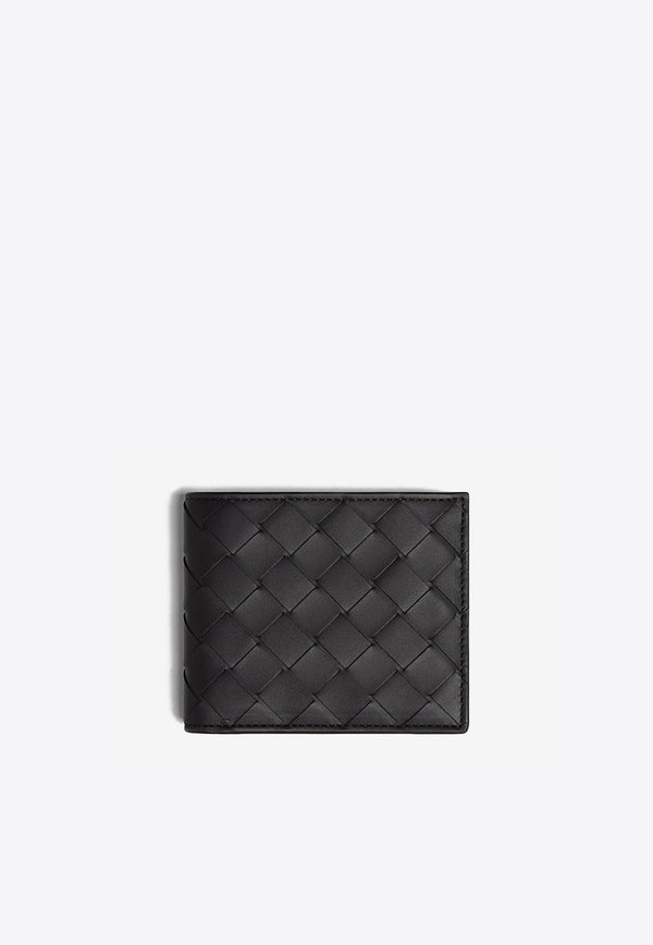 Leather Wallet with Intrecciato Detail