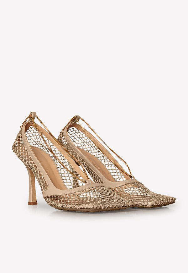 Mesh Square-Toe Pumps with Chain Detail 90 mm
