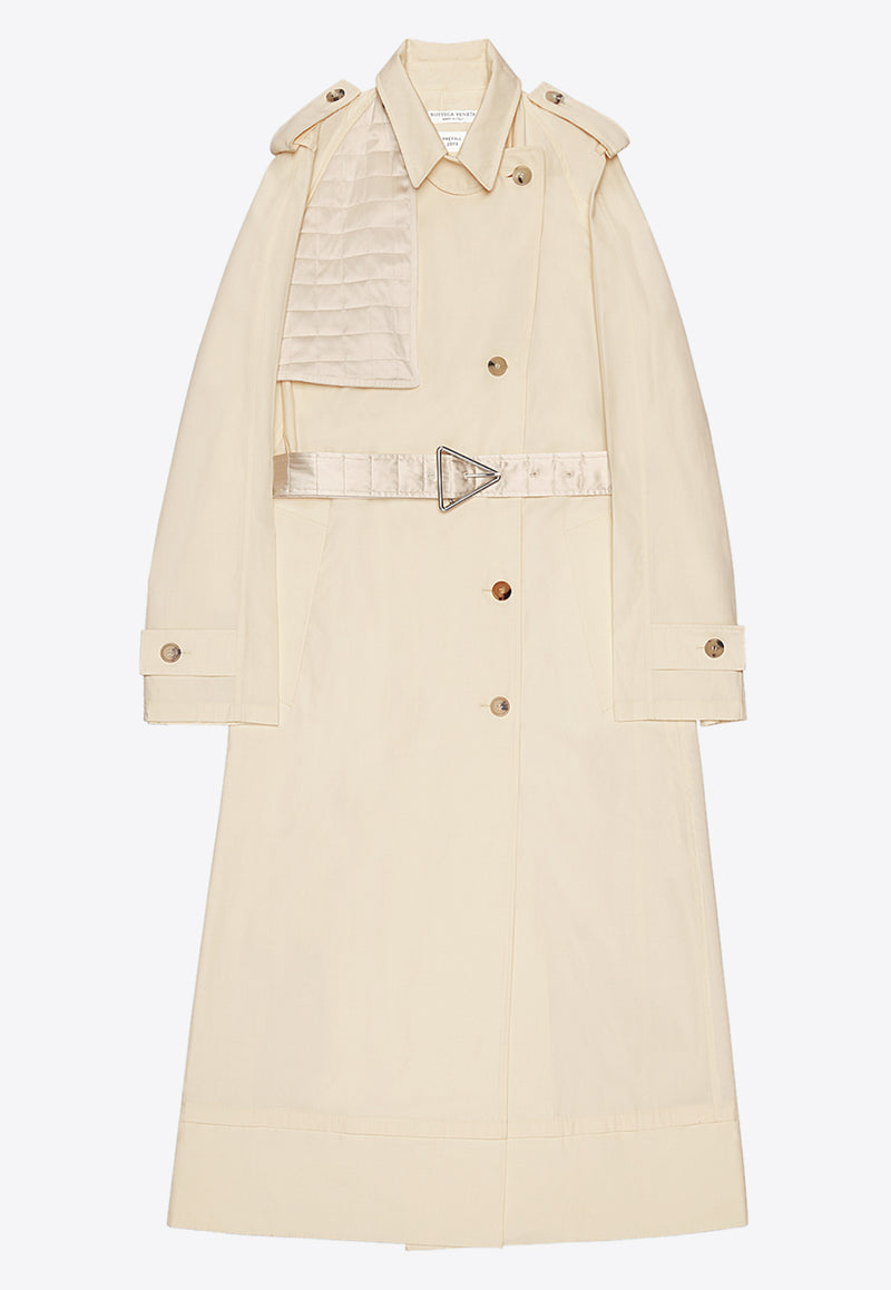 Oversized Trench Coat with Quilted Satin Flap