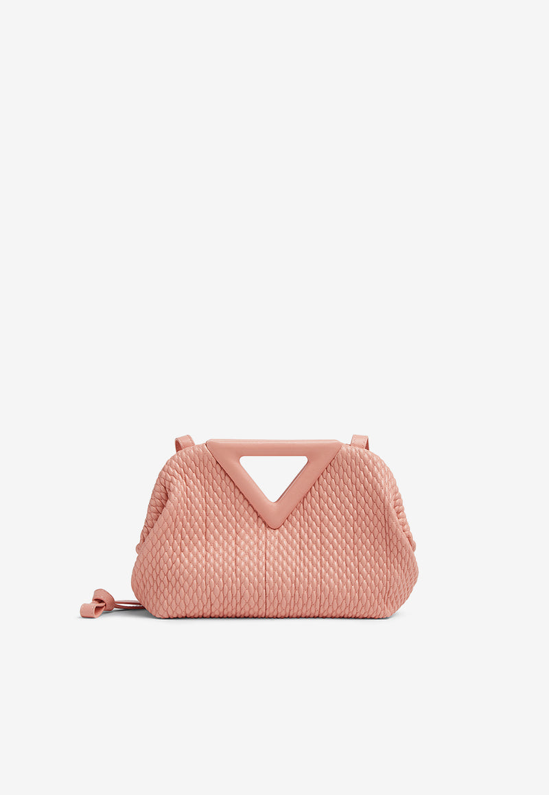 The Small Triangle Top Handle Bag in Quilted Nappa Leather
