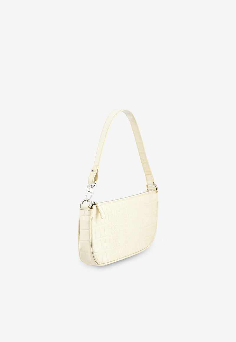 Rachel Shoulder Bag in Croc-Embossed Leather