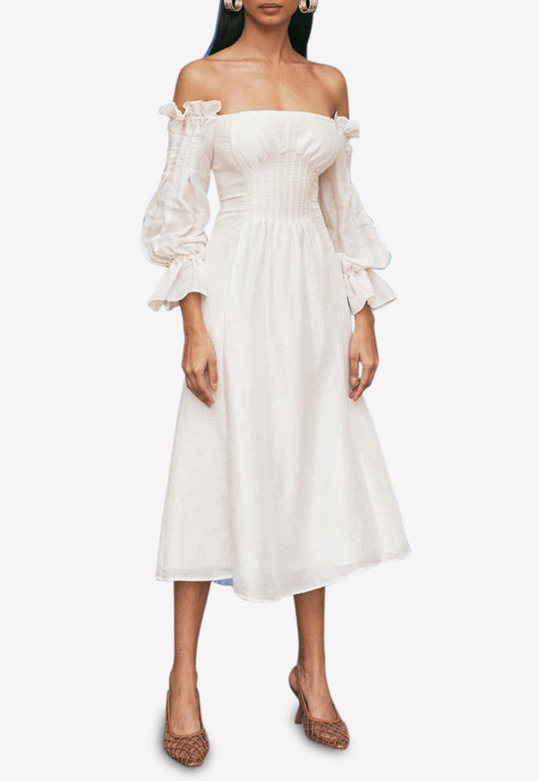 Ida Silk-Linen Blend Off-Shoulder Midi Dress