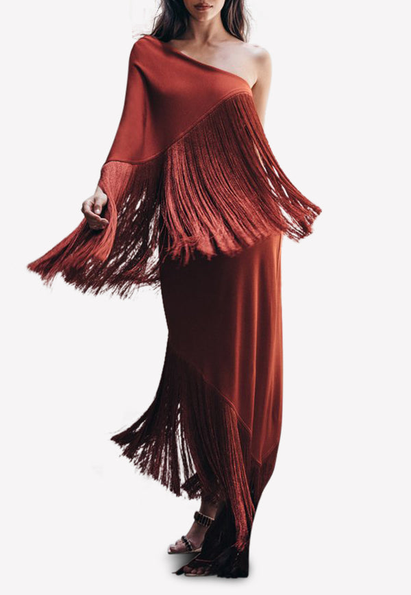 Zenyth One-Shoulder Fringed Gown