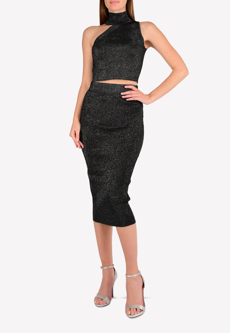 Metallic-Knit Pencil Skirt