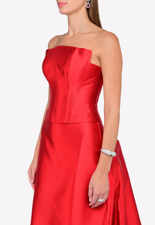 Red Corset with Pleated Back Skirt Set