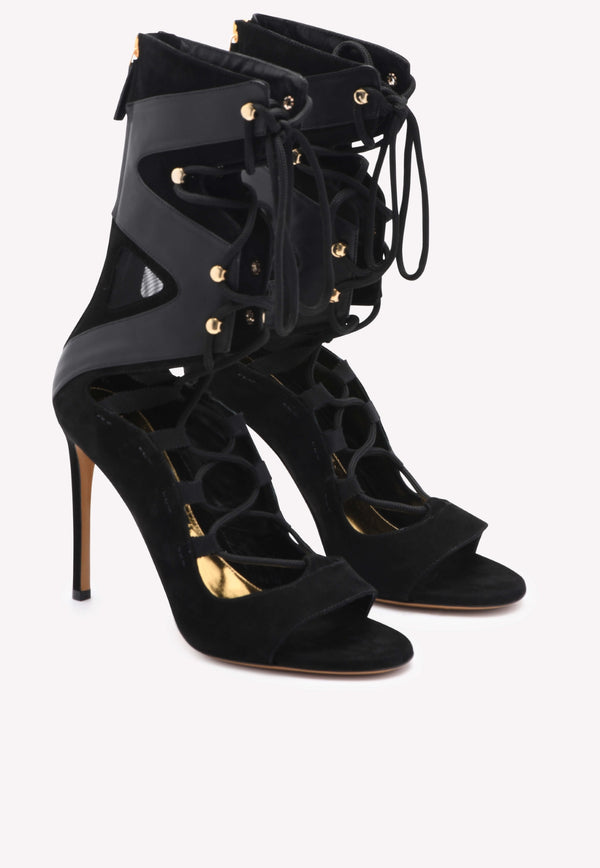 Carine Nero Lace-Up Mid-Calf Leather Boots - 100mm