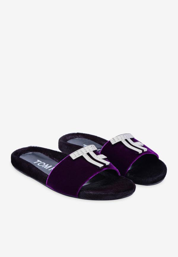 TF Crystal Logo Velvet Slides