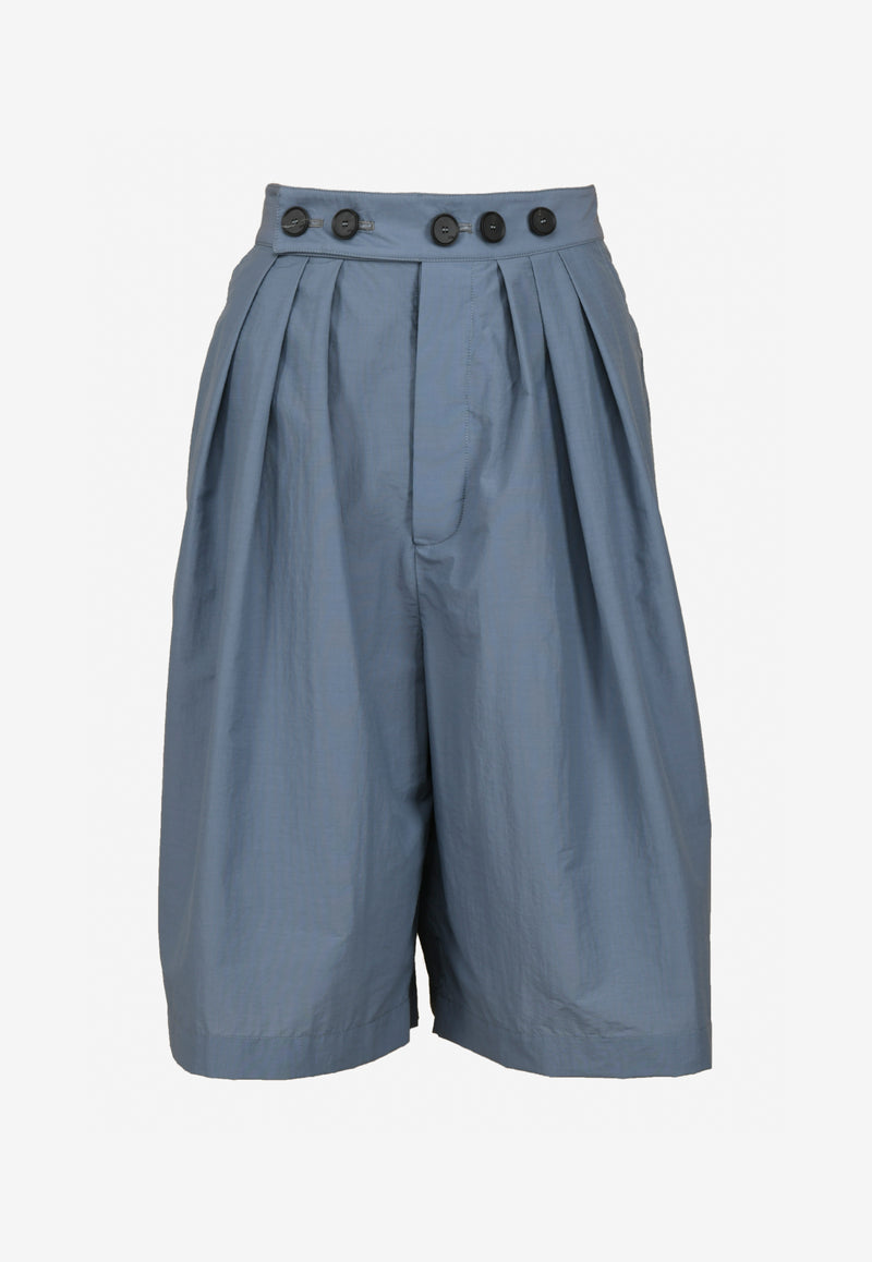 High-Waist Bermuda Nylon Shorts