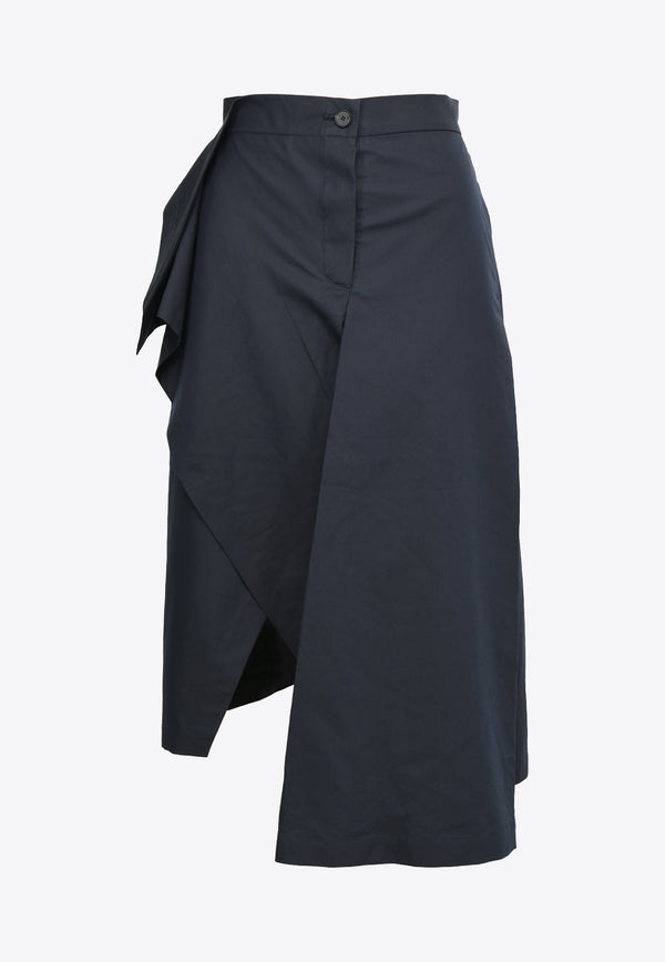 Asymmetric Draped Skirt in Cotton Blend