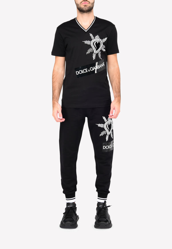DG Heart-Embroidered Patch Jersey Track Pants