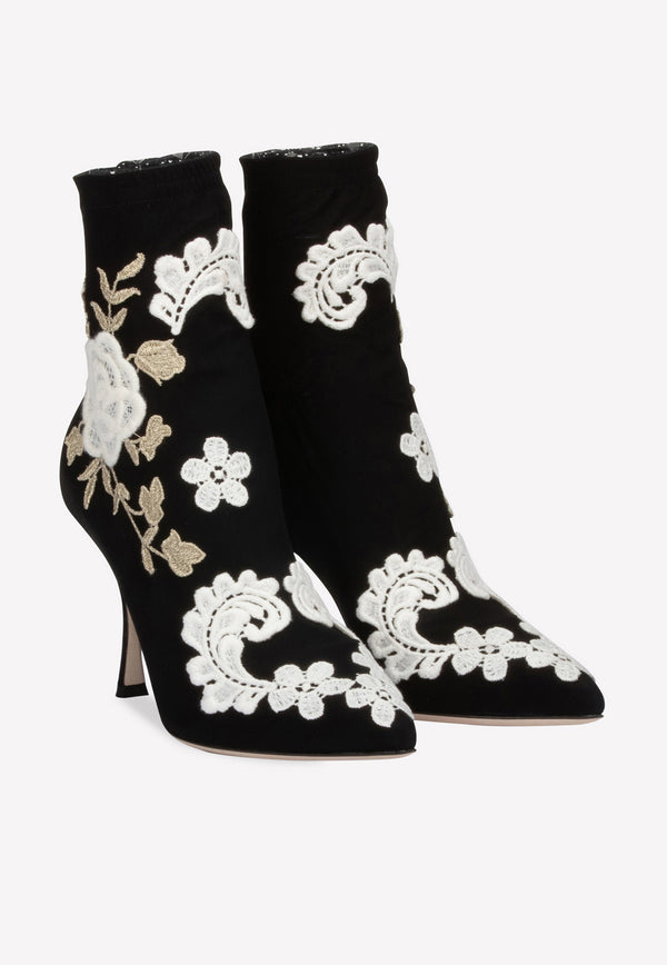 Lori 90 Stretch-Knit Sock Ankle Boots with Floral Macramé Embroidery