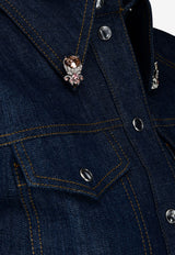 Denim Shirt with Crystal Brooch
