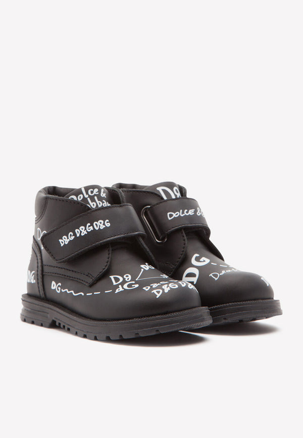 Boys' Calfskin Ankle Boots with Logo-Print