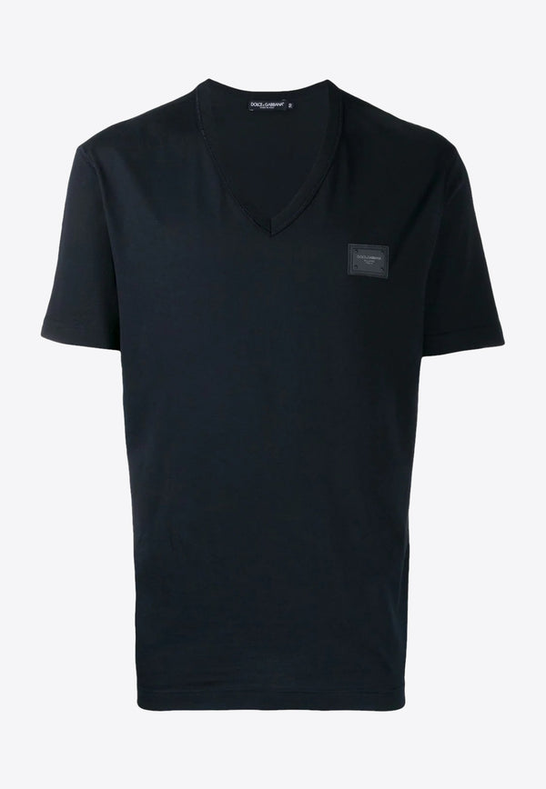 V-Neck Cotton T-shirt with Logo Plate