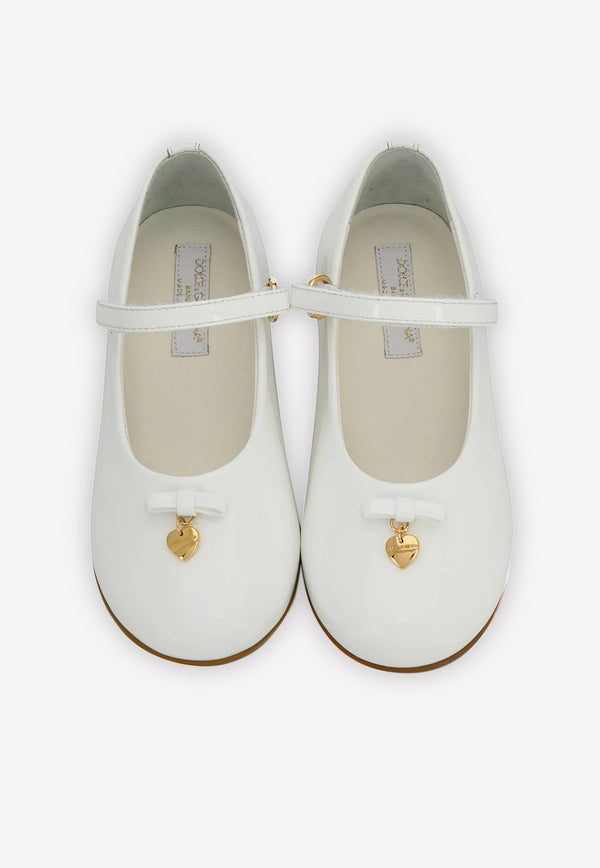 Girls' Patent Leather Mary Janes with Logo Charm