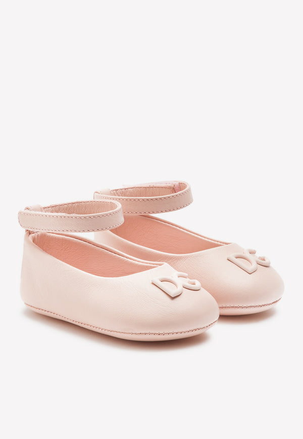 Girls Nappa Leather Ballet Flats with Logo Detail
