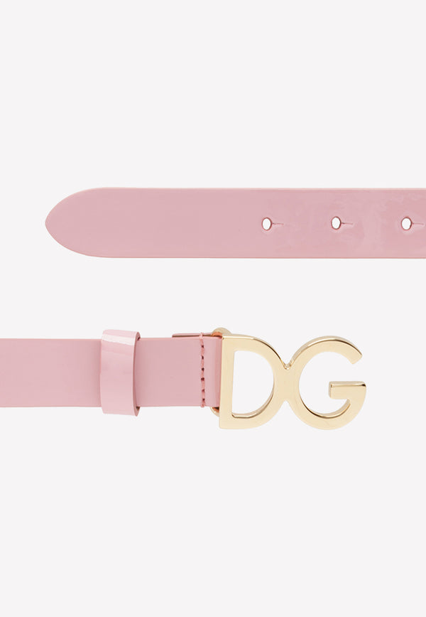 Girls' Patent Leather Belt with DG Logo Buckle