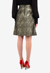 Jacquard A-line Skirt with Decorative Buttons