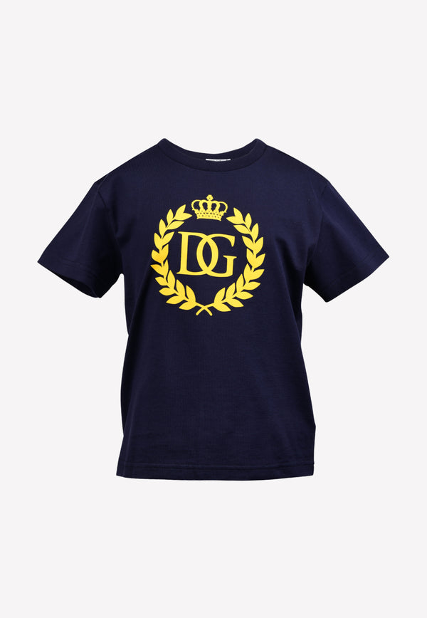 Boys Cotton DG Crown Logo Print T-shirt
