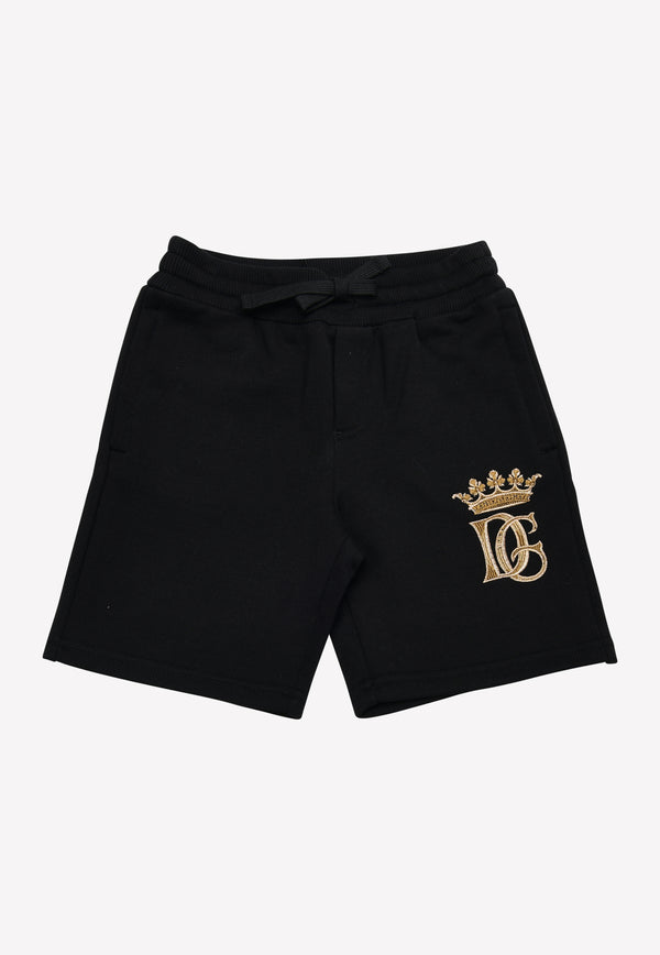 Boys Knitted Shorts with DG Crown Embroidery