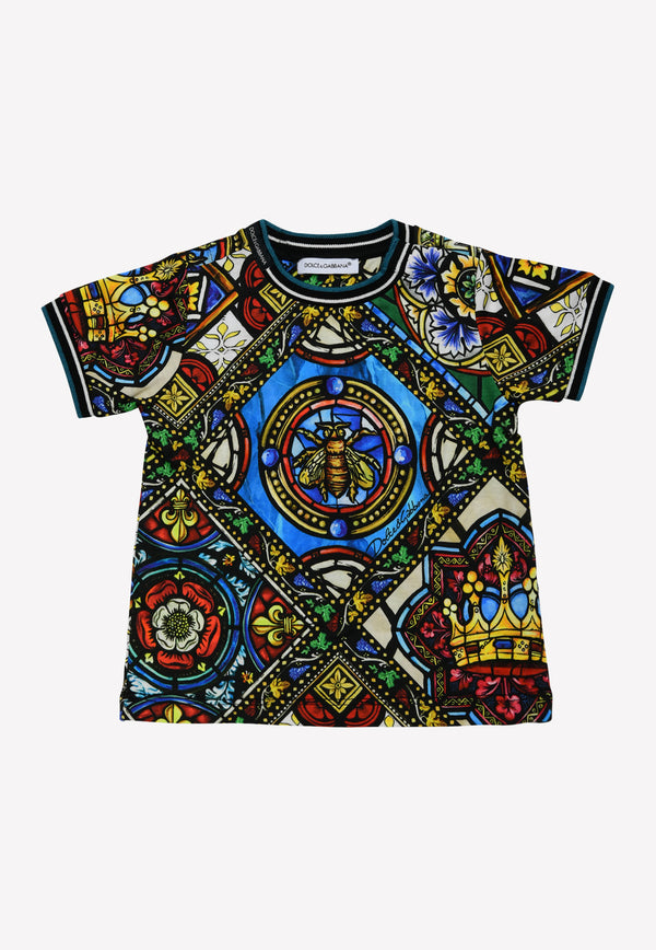 Infant Boys T-shirt with Stained Glass Window Print