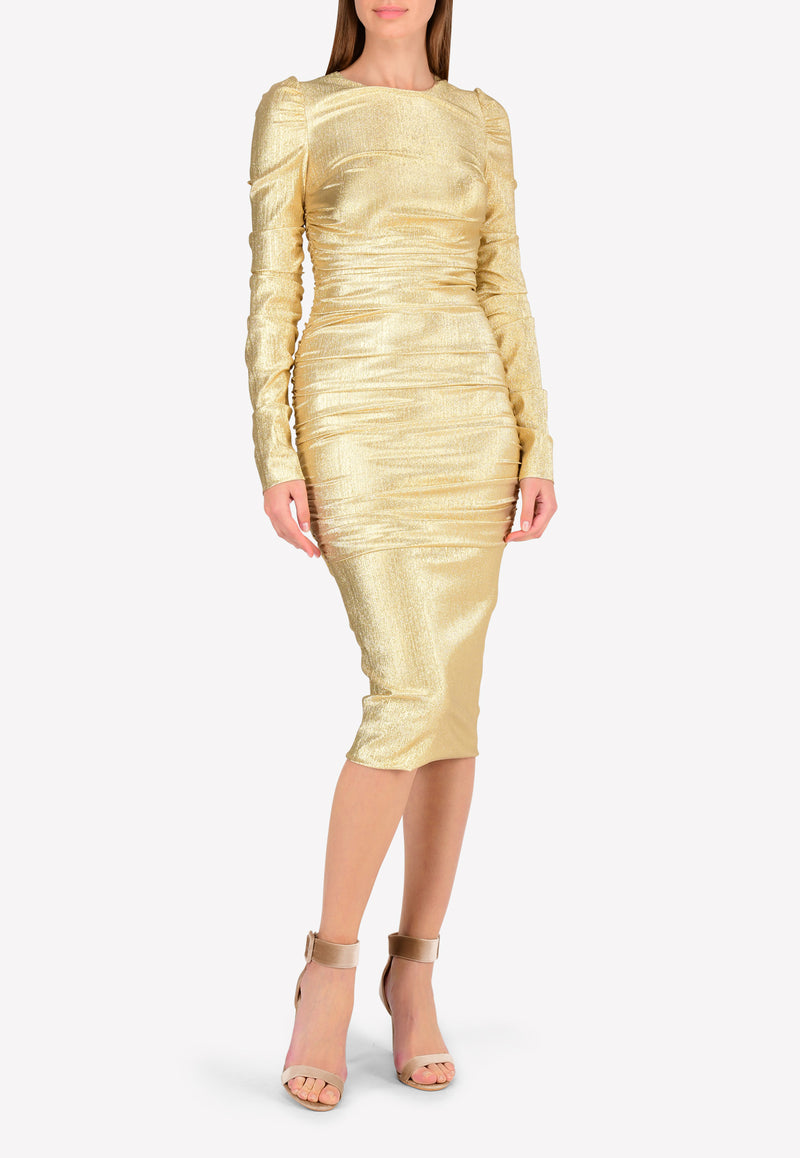 Lurex Draped Midi Dress