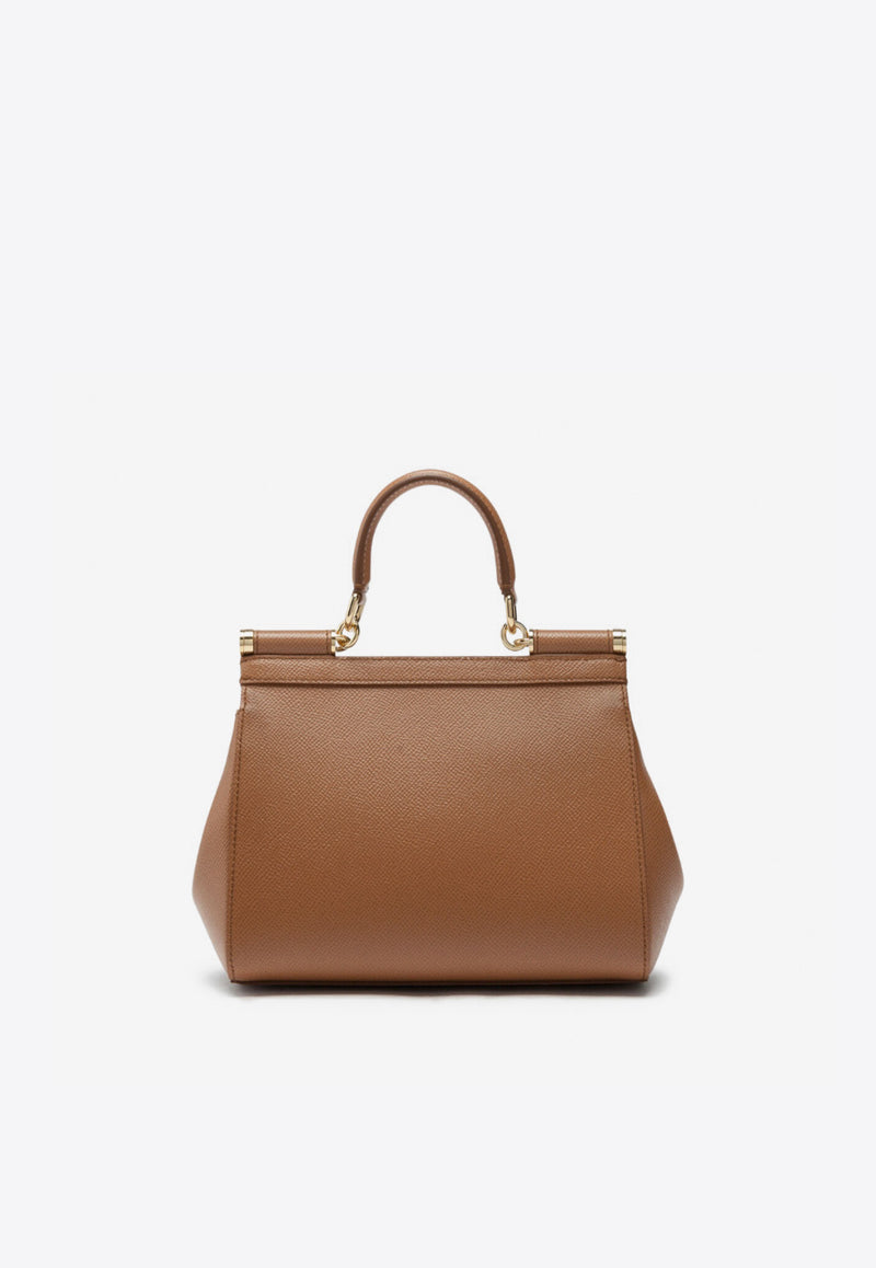 Medium Sicily Top Handle Bag in Dauphine Leather