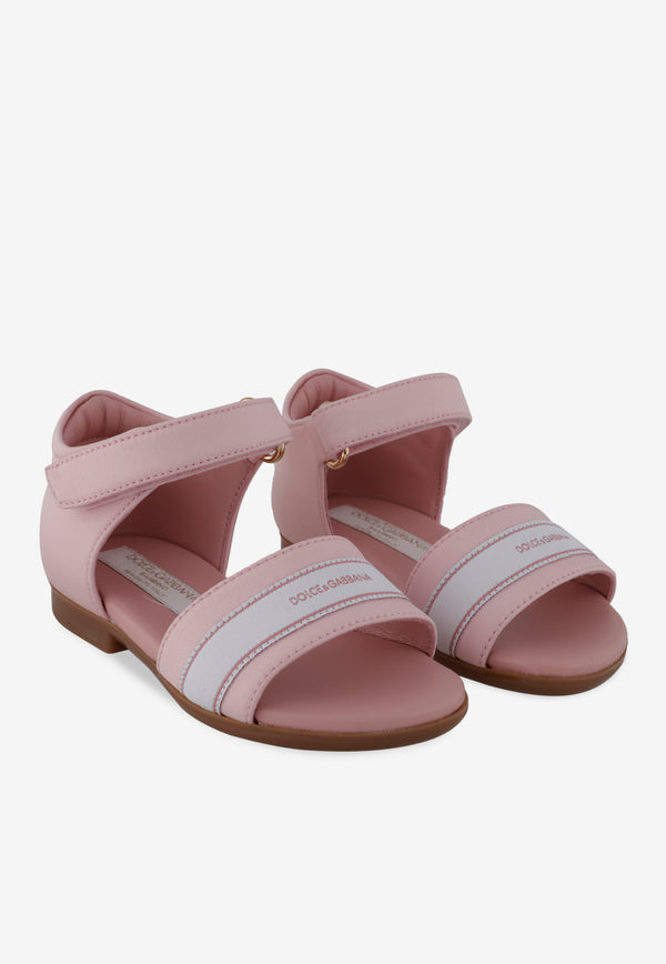 Leather Logo Tape Sandals