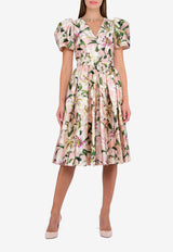 Silk Lily Print Dress with Puff Sleeves