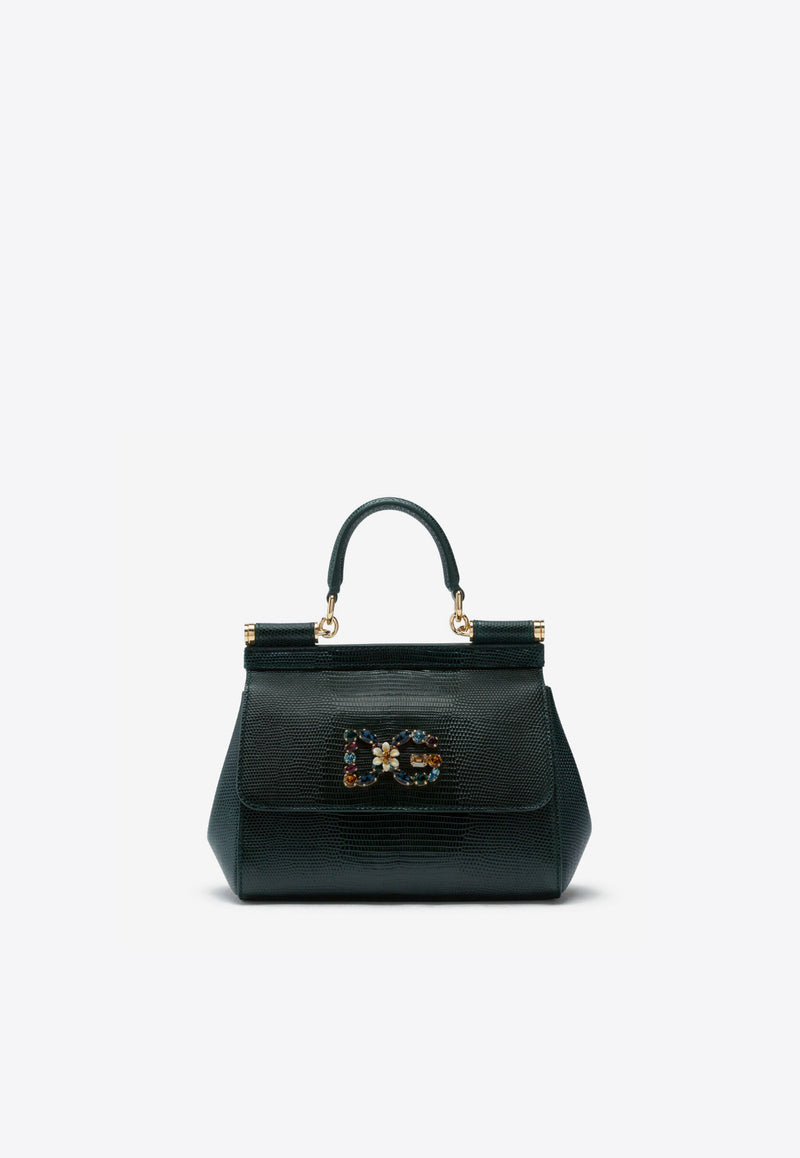 Small Sicily Top Handle Bag in Iguana-Embossed Calfskin