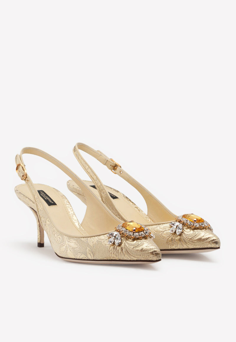 Cardinale 60 Floral Brocade Slingback Pumps with Crystal Embellishments