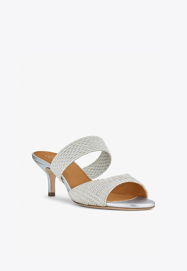 Milena 45 Sandals in Woven Lurex Cotton-E